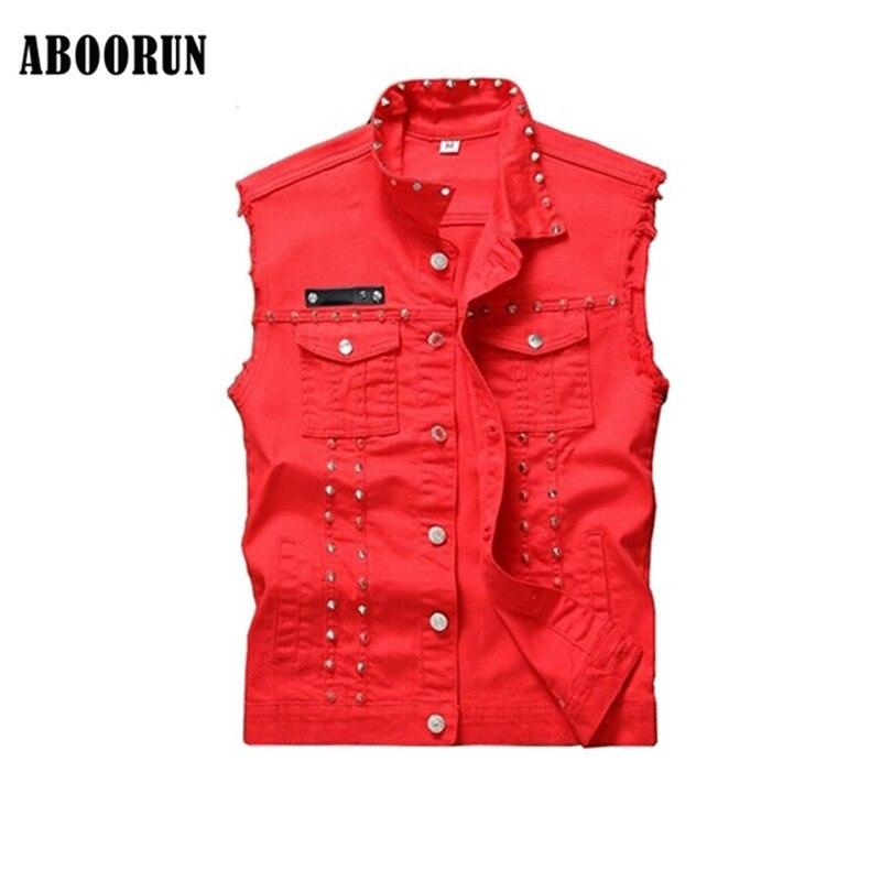 ABOORUN Punk Style Mens Skinny Denim Vest Red Rivet Sleeveless Jeans Jackets Fashion Sin ...