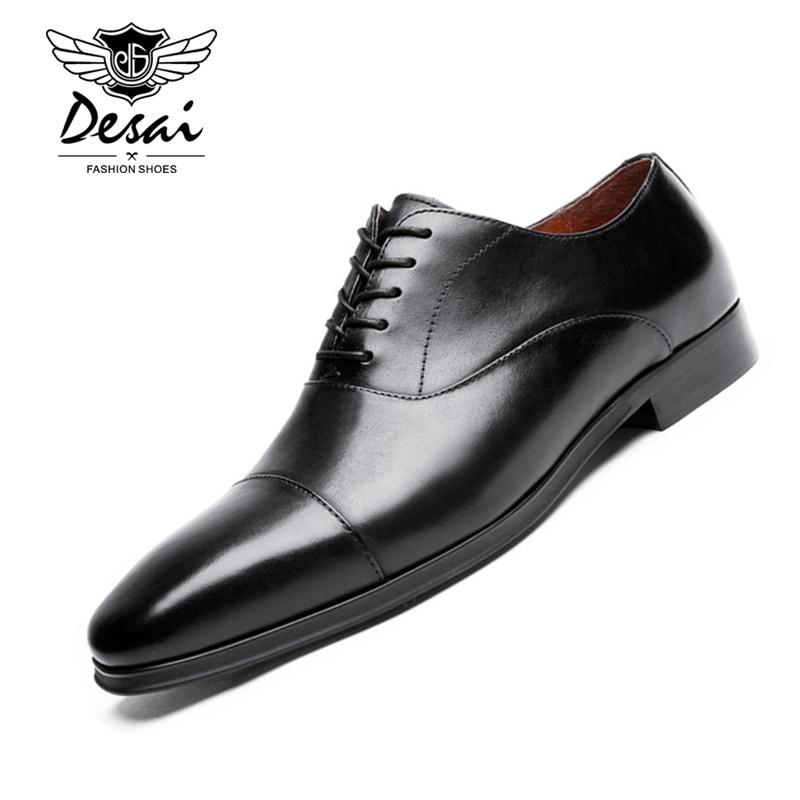 Ayakk.'ten Erkek Rahat Ayakkabılar'de DESAI Marka Lüks Hakiki Deri Erkek Resmi Ayakkabı Sivri Burun En Kaliteli Inek Deri Oxford Erkekler Elbise Ayakkabı Artı Boyutu'da  Grup 1
