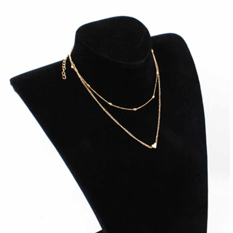 2019 moda złoto srebro kolor biżuteria naszyjniki w kształcie serca i wisiorki podwójny łańcuch Choker naszyjnik kołnierz damska biżuteria na prezent