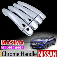 for Nissan Maxima A36 2016 2017 2018 Luxurious Chrome Door Handle Cover Trim Set Never Rust Car Accessories Stickers Car Styling