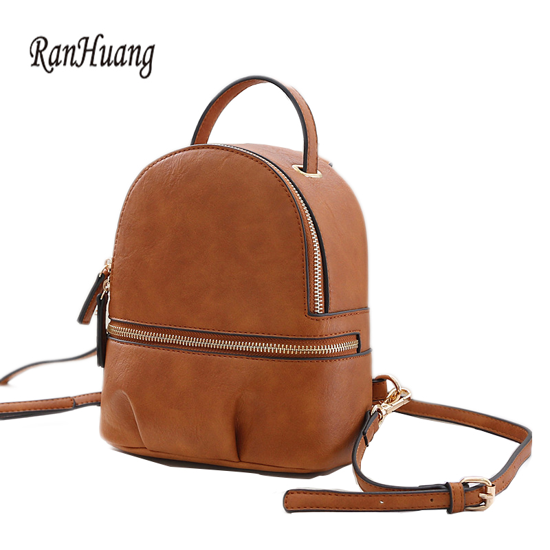 RanHuang Brand Fashion Women Small Backpack High Quality Genuine Leather Backpack School Bags For Teenage Girls