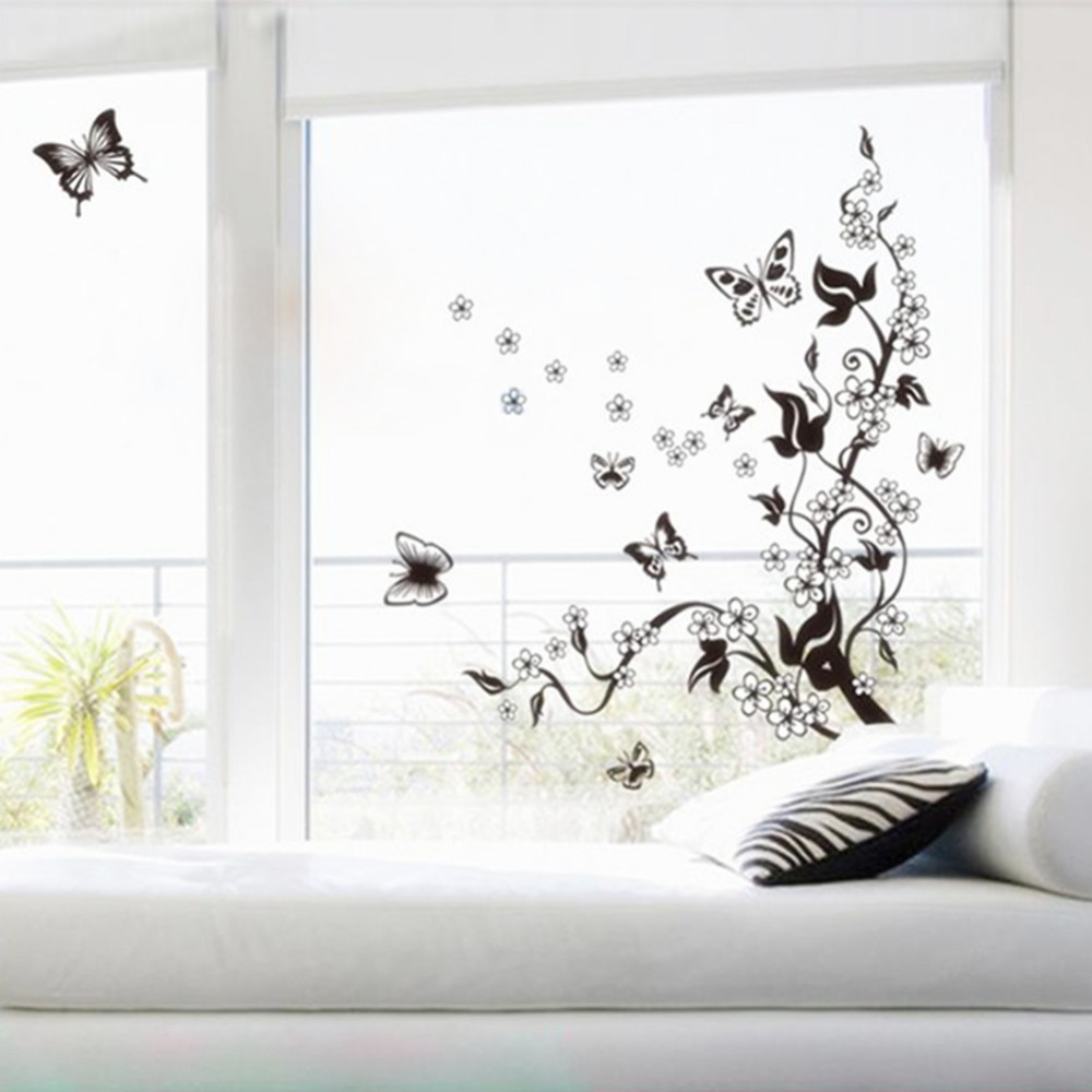 Beautiful Beautiful Wall Mural Decal Sticker Butterfly Flowers Tree Wall Sticker  Decor Vinyl Art New Free Shipping Great Pictures