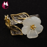 2019 Jade Plum blossom leaf Adjustable Rings 100% Real 925 Silver Jewelry for women wedding rings anillos plata 925 para mujer R