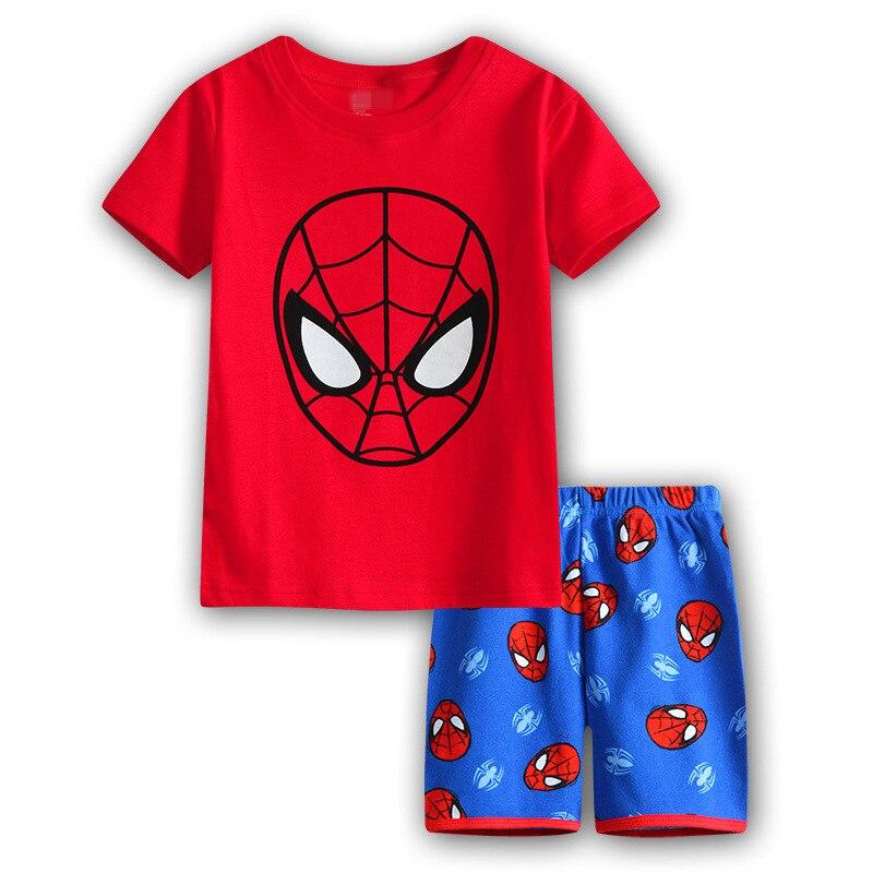 8 Kids Boys Girls Pajamas Cartoon Spider-Man Set Baby Sleepwear Cotton Superhero Costumes Shorts + Short Sleeve Tees Baby Clothing