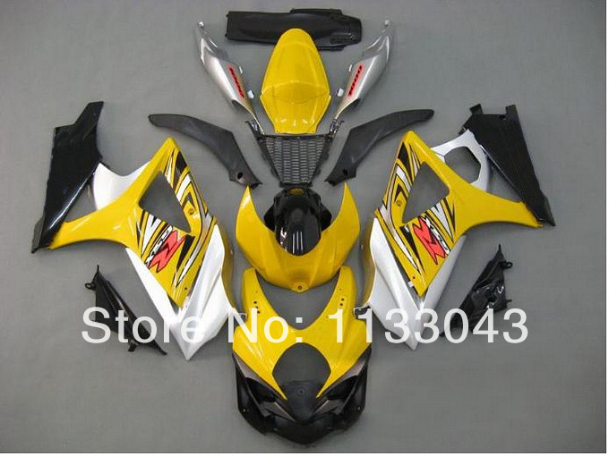 Инжекторный для SUZUKI GSX-R1000 K7 07 08 желтое Серебряно-GSX R1000 GSXR 1000 K7 07-08 GSXR1000 2007 2008 Обтекатели комплект