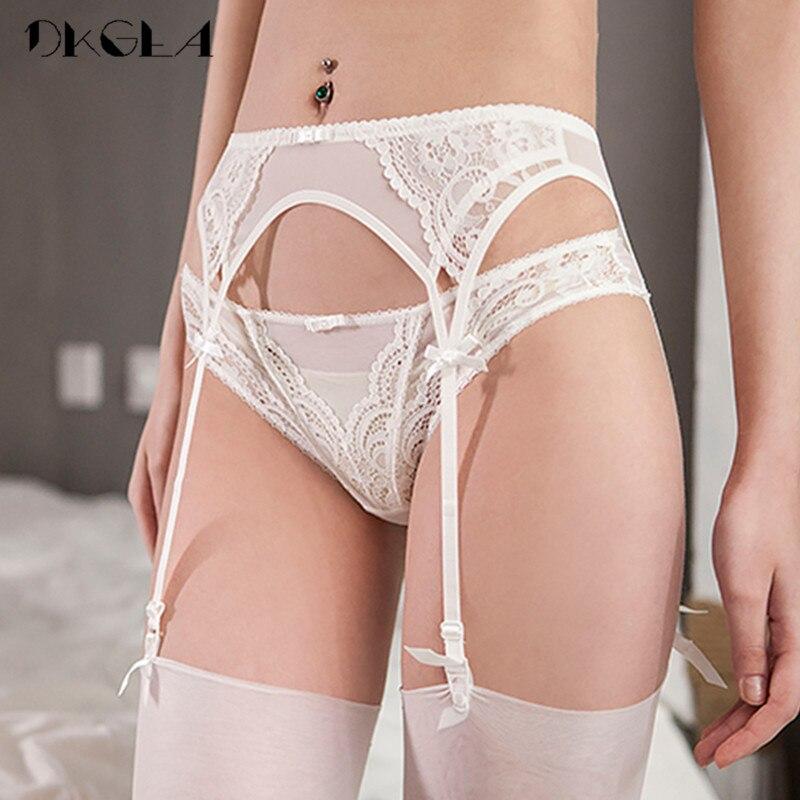 Lace White Garters Sexy Women Lingerie Temptation 2 Piece Panties+Garter Black Embroidery Suspender Belt Wedding Garters Belts