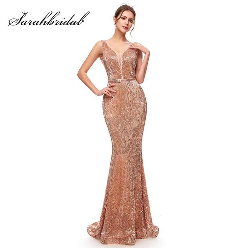 Charming Sequin Mermaid Long   Bridesmaid     Dresses   Garden Wedding Party Gowns New Formal Junior Women Ladies Tulle   Dress   L5256