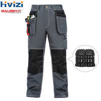 mesn cotton pants work wear clothing mulit tool pockets pants/trousers durable and wear-resistant overalls knee pads B119