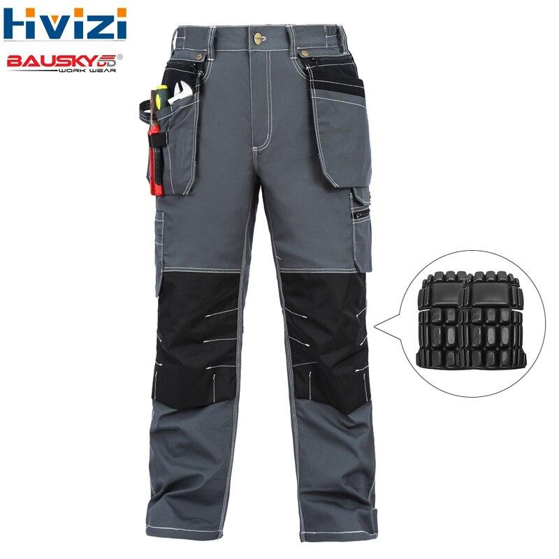 Calças de algodão desgaste do trabalho roupas mesn mulit ferramenta bolsos das calças/calças macacão na altura do joelho pads durável e desgaste-resistente b119