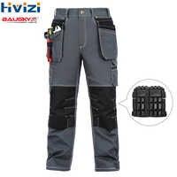 Pantalones de algodón mesn ropa de trabajo mulit herramientas bolsillos pantalones/pantalones duraderos y resistentes al desgaste rodilleras b119