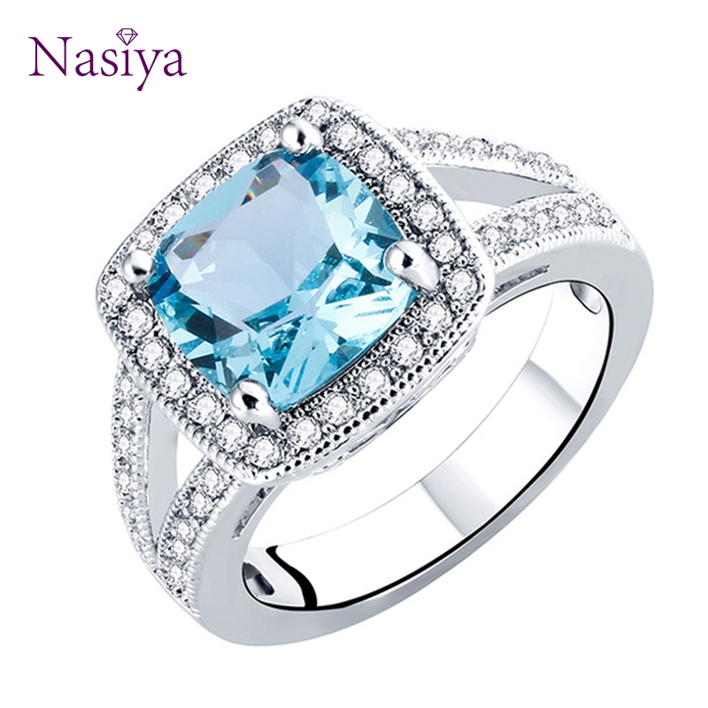 Nasiya 925 Sterling Silver Women Ring Created Sky Blue Topaz Classic Rings For Female Party Wedding Engagement Christmas Gift