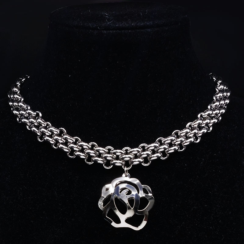 2017 Fashion Width Stainless Steel Rose Necklace Women Jewerly Silver Color Flower Necklace Jewelry Gift collar hombre N17961