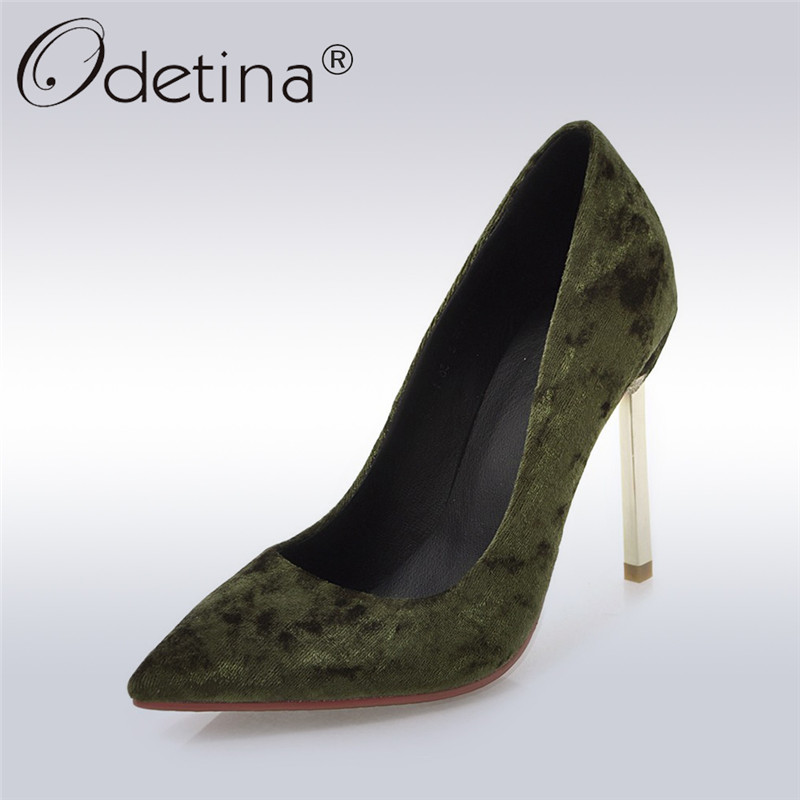 Odetina 2017 Fashion Classics Women Flock High Heels Stiletto Pointed Toe Pumps Solid Office Party Shoes Thin Heel Big Size 43 new 2017 spring summer women shoes pointed toe high quality brand fashion womens flats ladies plus size 41 sweet flock t179