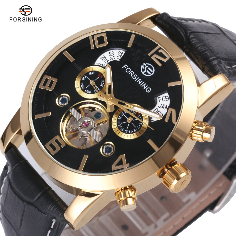 FORSINING Golden Auto Mechanical Wrist Watches Men Tourbillon Working Small Sub-dials Leather Strap Top Brand Luxury Men Watch forsining full calendar tourbillon auto mechanical mens watches top brand luxury wrist watch men erkek kol saati montre homme