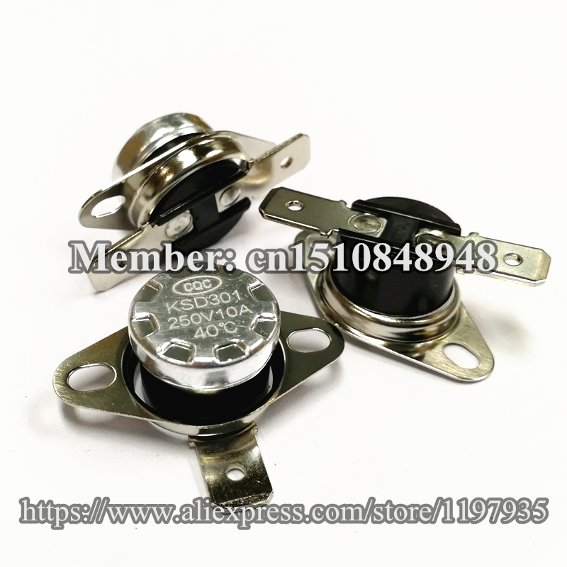 Thermostat temperature switch KSD301 250V 10A 40 45 50 55 60 65 70 75 80 85 90 95 100 105 110 115 120 degrees Normally Closed