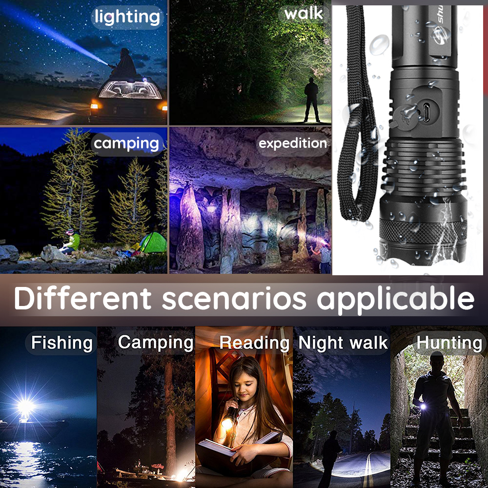Купить с кэшбэком Powerful LED Flashlight XHP50 Lamp bead Support zoom 5 lighting modes Torch By 18650 or 26650 battery For outdoor activities