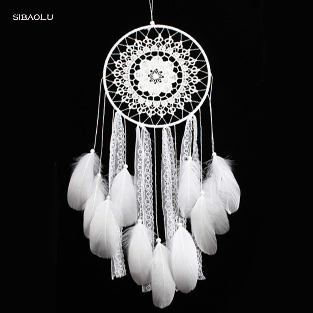 creative white feather big dream catcher indian lace net decor ...