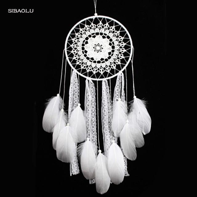 Creative White Feather Big Dream Catcher Indian Lace Net Decor