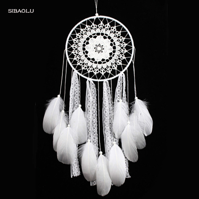 Large White Feather Dream Catcher