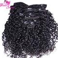 2016 New Virgin Brazilian Human Hair Clip In Extensions Afro Kinky Curly Clip In Human Hair Extensions Kinky Curly Clip Ins