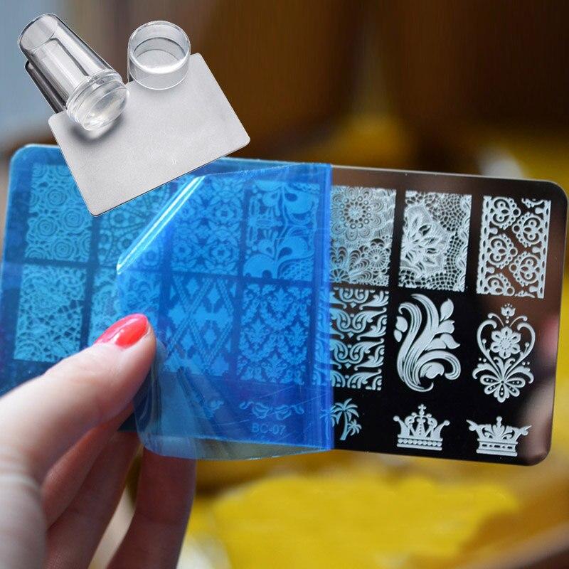 Pandahall 1 Piece DIY Polish Stamping Nail Art Stamp Templates Manicure Nail Stencils Transfer Tool