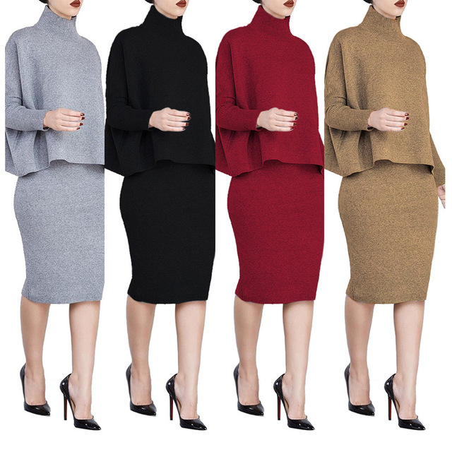 6f053de23c8 Knitted plus size dress set skirt and sweater top split pencil skirts +  Turtleneck Sweaters women suits dos piezas mujer skirts