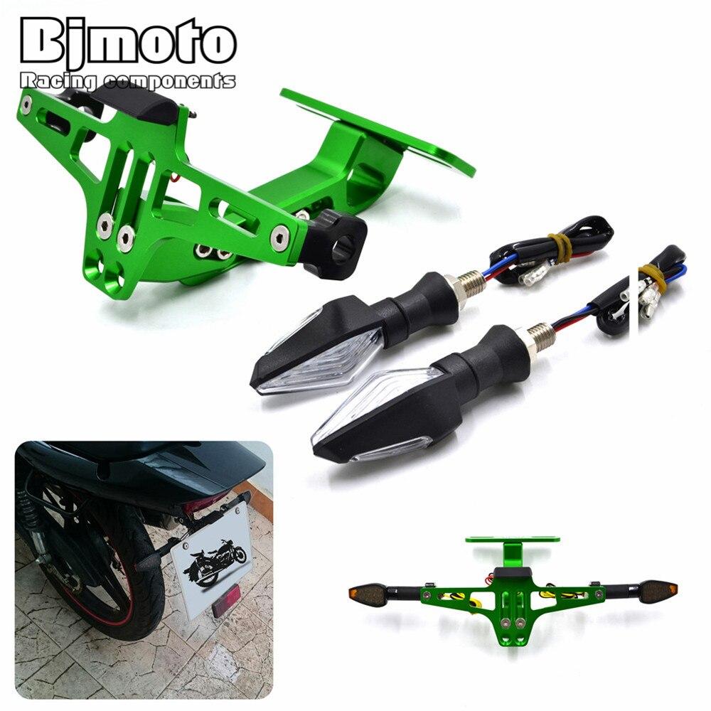 Bjmoto Aluminum Adjustable Angle Motorcycle License Number Plate Frame Holder Bracket Universal LED Turn Signal Light Flashers