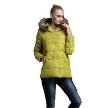 New Fashion Women Winter Hooded Collars Keep Warm Thicken Big yards Down Jacket Leisure Pure color Long Sleeve Female Coat G0980