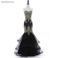 Luxury Black Navy Blue Beading Mermaid Tulle Evening Dress Sweetheart Sleeveless Elegant Evening Gowns Robe De