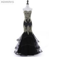 Luxury Black Navy Blue Beading Mermaid Tulle Evening Dress Sweetheart Sleeveless Elegant Evening Gowns Robe De