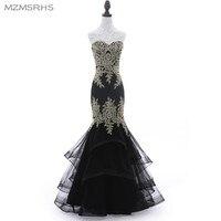 Luxury Black Tulle Beading Mermaid Evening Dress Long Sweetheart Sleeveless Elegant Formal Evening Gowns Robe De Soiree 2017