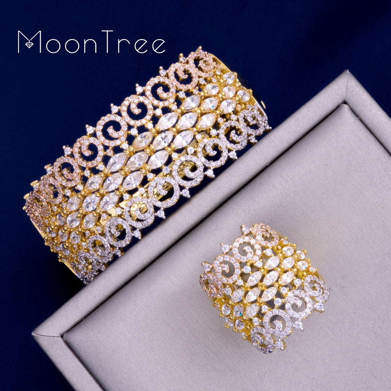 MoonTree Luxury Big Delicate 3 Tone Mixed Cubic Zirconia Copper Geometry Party Wedding Saudi Arabic Dubai