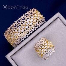 MoonTree Luxury Big Delicate 3 Tone  Mixed Cubic Zirconia Copper Geometry Party Wedding Saudi Arabic Dubai Bangle Ring Set