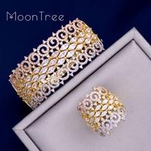 MoonTree Luxus Große Empfindliche 3 Ton Mixed Zirkonia Kupfer Geometrie Party Hochzeit Saudi Arabisch Dubai Armreif Ring Set
