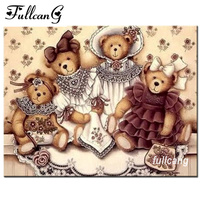 FULLCANG 5d Diamond Painting Cross Stitch Cartoon Bear Doll Diy Diamond Embroidery Mosaic Rhinestones Full Square