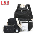 Canvas women backpack rucksack 3 sets bag backpacks for teenage school bags knapsack rucksack printing white spots shoulder bag