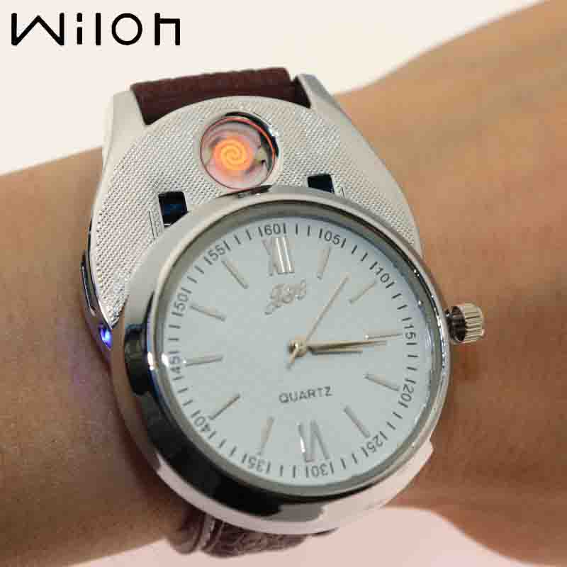 2018 Lighter Watch For Men USB Charging clock fashion Windproof sports Casual Quartz watches Flameless Cigarette Lighter JH318