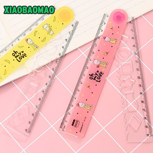 Quality 2PCS Candy Colors Style 30cm Drawing Multifunction PVC Folding Ruler Student School Stationery