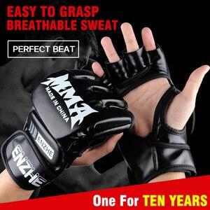 Adult Thick Boxing Gloves MMA Gloves Half finger Taekwondo Protector Fight MMA Sandbag Glove Professional Training Equipment(China)
