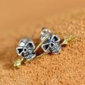 925 Sterling Silver Skull rose Earrings Studs Set Small Rock Punk Gothic Retro Jewelry For Men And Women gift Brinco Masculino