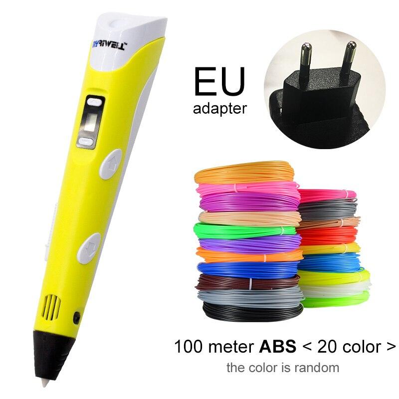 Myriwell, 3D ручка, светодиодный экран, сделай сам, 3D Ручка для печати, 100 м, ABS нити, креативная игрушка, подарок для детей, дизайнерский рисунок - Цвет: Yellow EU-100m ABS