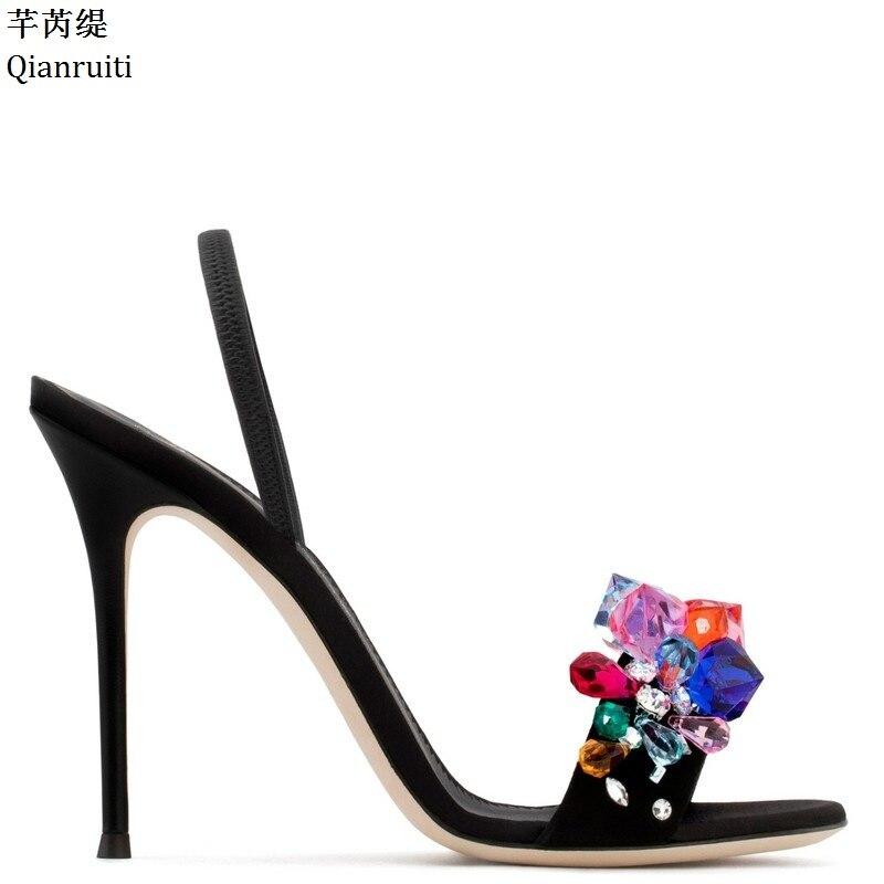 Qianruiti Summer Studded Crystal Slingback Women Pumps Kim Kardashian Style High Heels Sandals Sexy Stiletto Heels Women Shoes
