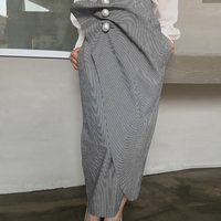 Autumn Big Pearls Ruched Striped Skirts Women High Waist Split Irregular Long Skirts Elegant Office Lady Hip Skirt faldas mujer