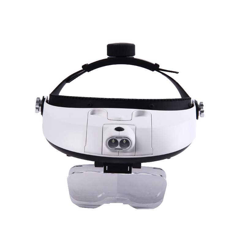 Headband Magnifying Glass Eye Repair Magnifier LED Light Helmet Style Magnifier Illuminated Loupe With 5 Replaceable lens in Magnifiers from Tools