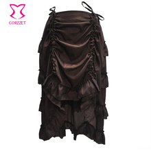 Vintage Brown Chiffon Asymmetrical Ruffle Long Victorian Steampunk Skirt Sexy Gothic Skirts Plus Size Corset Costumes Accesories
