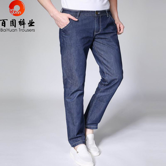 f0d847665a5a4 BaiYuan Pantalones Famous Brand Jeans Hombre Azul Delgado Denim Vaqueros  Finos Ocasionales Diseñador Inglaterra Estilo Pantalones