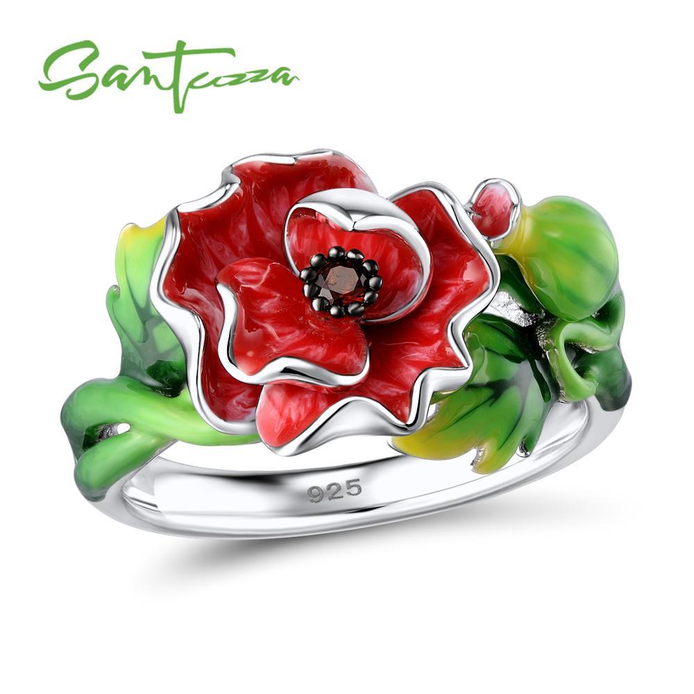 Bague en argent SANTUZZA pour femmes en argent Sterling 925 magnifique fleur rouge brillant grenat Nano CZ bijoux de mode émail fait à la main
