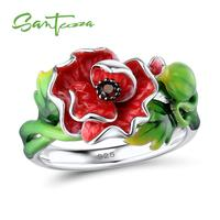 SANTUZZA Silver Ring For Women 925 Sterling Silver Gorgeous Red Flower Shiny Garnet Nano CZ Fashion Jewelry Handmade Enamel