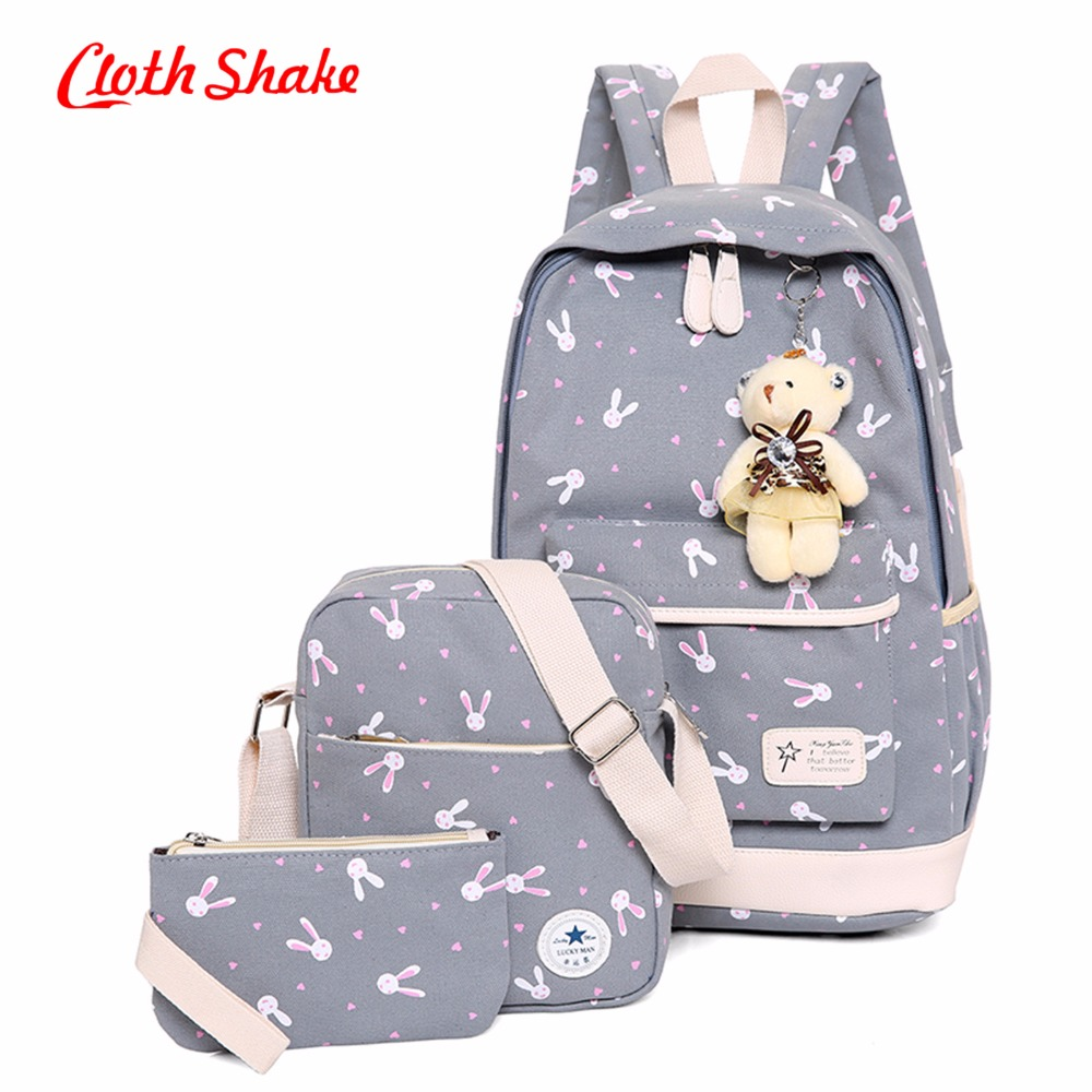 Women Backpacks Cartoon Rabbit Printing School Backpack Canvas Schoolbags For Teenage Girl Students Bag Travel Laptop