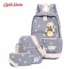 Для женщин Рюкзаки мультфильм кролик печати Школьный Рюкзак Холст ранцы для девочки-подростка студенты сумка дорожная сумка для ноутбука
